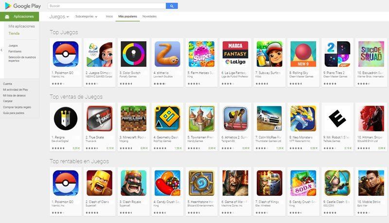 Android Play Store de juegos